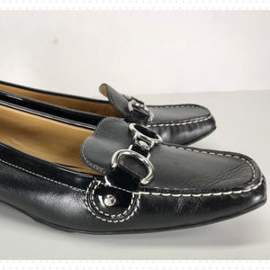 Cole Haan Black Leather Silver Buckle Loafers